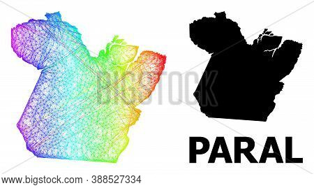 Wire Frame And Solid Map Of Paral State. Vector Model Is Created From Map Of Paral State With Inters