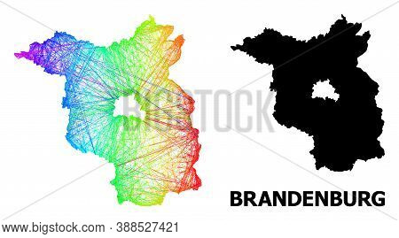 Net And Solid Map Of Brandenburg State. Vector Model Is Created From Map Of Brandenburg State With I