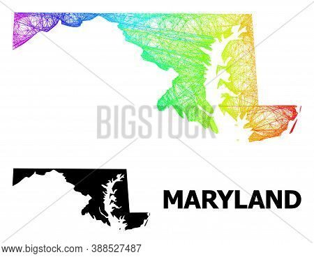 Net And Solid Map Of Maryland State. Vector Model Is Created From Map Of Maryland State With Interse