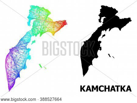 Wire Frame And Solid Map Of Kamchatka Peninsula. Vector Model Is Created From Map Of Kamchatka Penin