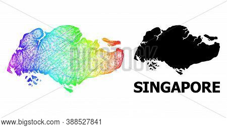 Wire Frame And Solid Map Of Singapore. Vector Structure Is Created From Map Of Singapore With Inters