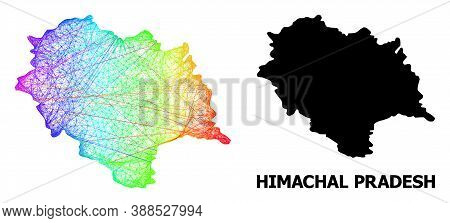 Wire Frame And Solid Map Of Himachal Pradesh State. Vector Model Is Created From Map Of Himachal Pra