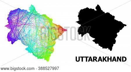 Wire Frame And Solid Map Of Uttarakhand State. Vector Structure Is Created From Map Of Uttarakhand S