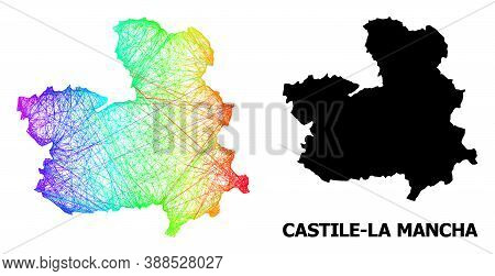 Wire Frame And Solid Map Of Castile-la Mancha Province. Vector Structure Is Created From Map Of Cast