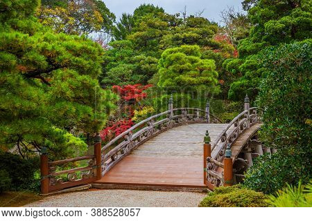Kyoto, Japan - November 22: Gardens In Japan. Kyoto Imperial Palace Garden Wooden Bridge With Red Ma