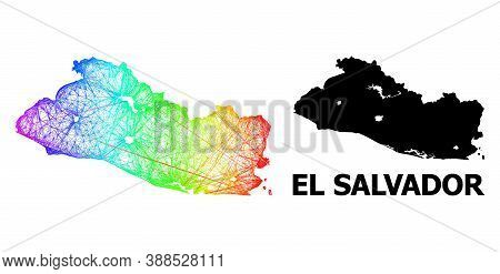 Wire Frame And Solid Map Of El Salvador. Vector Structure Is Created From Map Of El Salvador With In