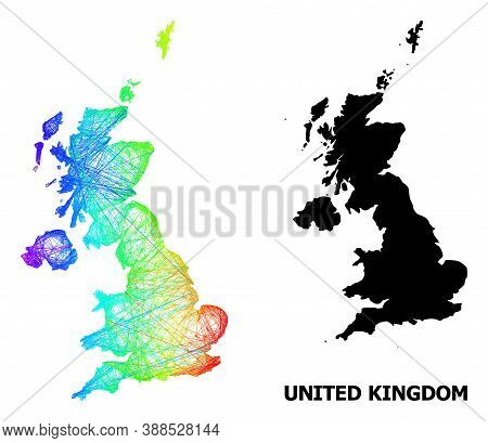 Wire Frame And Solid Map Of United Kingdom. Vector Model Is Created From Map Of United Kingdom With