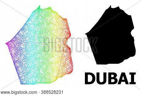 Wire Frame And Solid Map Of Dubai Emirate. Vector Model Is Created From Map Of Dubai Emirate With In