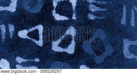 Indigo Bohemian Ethnic Print. Artistic Background. Deep Blue Geometric Shapes. Navy Bohemian Ethnic