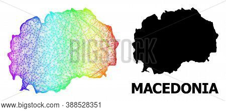 Wire Frame And Solid Map Of Macedonia. Vector Structure Is Created From Map Of Macedonia With Inters