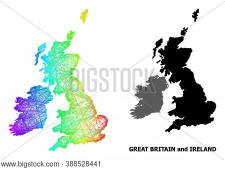 Net And Solid Map Of Great Britain And Ireland. Vector Structure Is Created From Map Of Great Britai