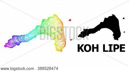Wire Frame And Solid Map Of Koh Lipe. Vector Model Is Created From Map Of Koh Lipe With Intersected