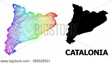 Wire Frame And Solid Map Of Catalonia. Vector Structure Is Created From Map Of Catalonia With Inters