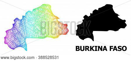 Wire Frame And Solid Map Of Burkina Faso. Vector Model Is Created From Map Of Burkina Faso With Inte