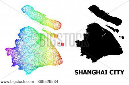 Wire Frame And Solid Map Of Shanghai Municipality. Vector Model Is Created From Map Of Shanghai Muni