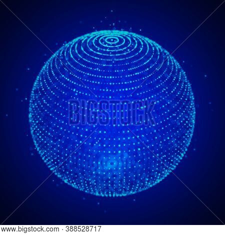 Abstract 3D Sphere. Sphere Particles. Global Network Connection. Futuristic Technology Style. Big Da