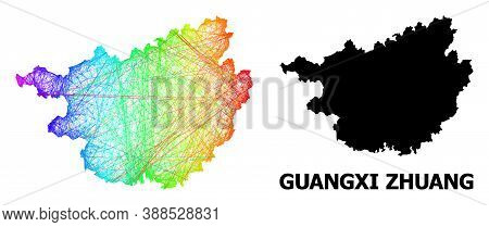 Network And Solid Map Of Guangxi Zhuang Region. Vector Structure Is Created From Map Of Guangxi Zhua