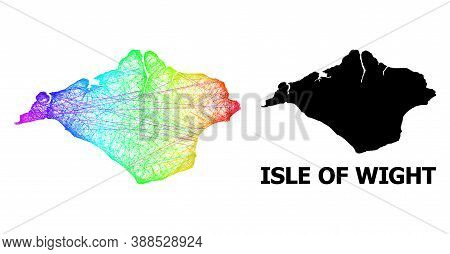 Net And Solid Map Of Isle Of Wight. Vector Model Is Created From Map Of Isle Of Wight With Intersect