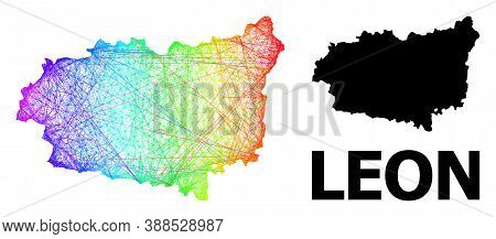 Network And Solid Map Of Leon Province. Vector Structure Is Created From Map Of Leon Province With I
