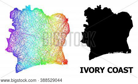 Wire Frame And Solid Map Of Ivory Coast. Vector Model Is Created From Map Of Ivory Coast With Inters