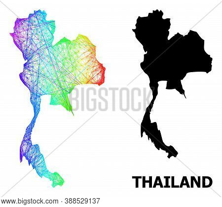 Network And Solid Map Of Thailand. Vector Structure Is Created From Map Of Thailand With Intersected
