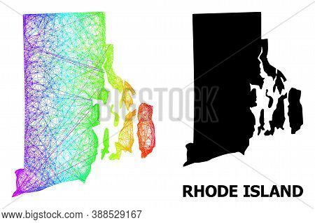 Network And Solid Map Of Rhode Island State. Vector Model Is Created From Map Of Rhode Island State