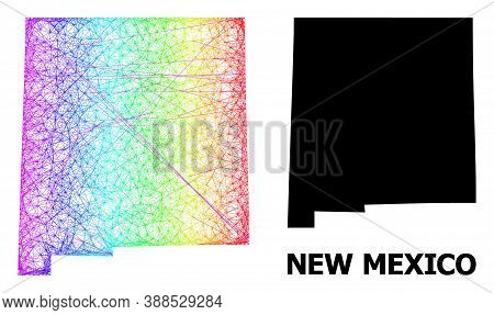 Network And Solid Map Of New Mexico State. Vector Structure Is Created From Map Of New Mexico State