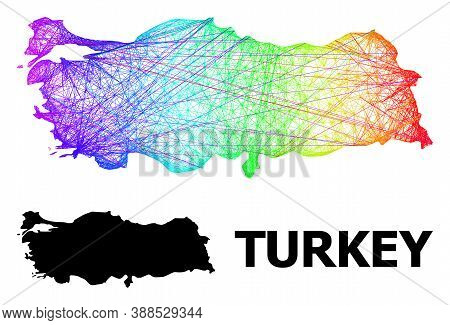 Wire Frame And Solid Map Of Turkey. Vector Model Is Created From Map Of Turkey With Intersected Rand