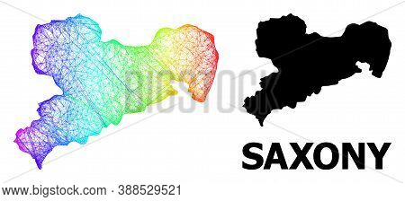 Network And Solid Map Of Saxony State. Vector Structure Is Created From Map Of Saxony State With Int