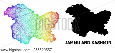 Wire Frame And Solid Map Of Jammu And Kashmir State. Vector Model Is Created From Map Of Jammu And K