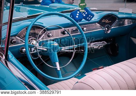 Toronto, Canada - 08 18 2018: Steering Wheel With Logo On Horn Button, Dials And Knobs On Front Pane
