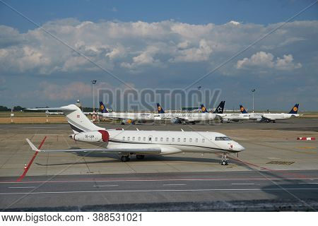 Budapest, Hungary - July 4, 2020: Lufthansa aircrafts parked, foreground private jet OE-LEM is reported to be used by Hungarian Prime Minister Viktor Orban to travel to soccer matches and other events