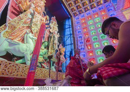 Howrah, West Bengal, India - 5th October 2019 : Hindu Bengali Purohit Praying With Sanskrit Shlokas