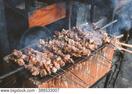 Sate Klatak Grilling On Charcoal Grill. Sate Klathak Is A Unique Goat Satay Or Mutton Satay Dish, Or