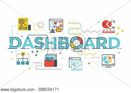 Dashboard Word Lettering Illustration With Icons For Web Banner, Flyer, Landing Page, Presentation,