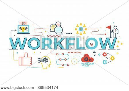 Workflow Word Lettering Illustration With Icons For Web Banner, Flyer, Landing Page, Presentation, B