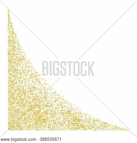 Angular Element, Web Corner Angled Plume Golden Texture Crumbs. Gold Dust Scattering On White. Sand