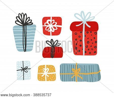 Gift Boxes Set, Presents Isolated On White Background. Sale, Holiday, Shopping Concept. Collection F