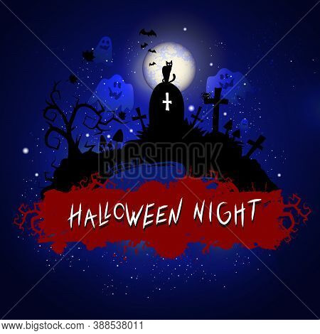 Vector Halloween Illustration With Cemetery And Inscription On Cemetery Sky Nightly Background With