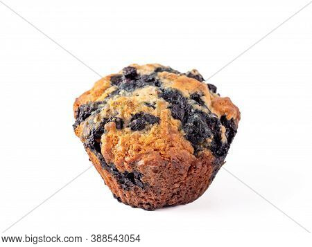 Homemade Vegan Blueberry Muffin Isolated. Vegetarian Egg-free Muffin With Blue Berries Isolated On W
