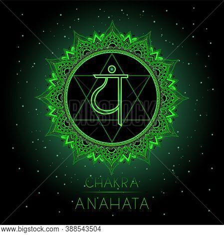 Vector Illustration With Symbol Anahata - Heart Chakra On Black Background. Round Mandala Pattern An