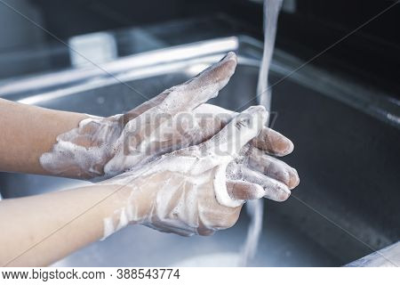 Woman Hand Washing With Soap Antibacterial For Against Infection Germs And Coronavirus,covid-19,hygi