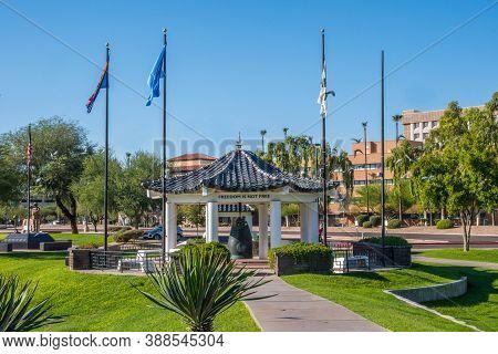 Phoenix, Az, Usa - October 24, 2019: The Huge Liberty Bell Along The Grounds Of Arizona State Capito