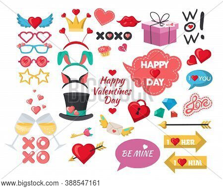 Valentines Day Photo Booth Props, Party Decoration Set, Flat Vector Isolated Illustration.