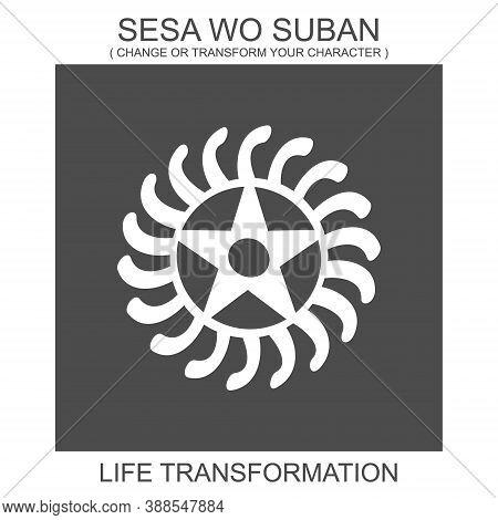 Vector Icon With African Adinkra Symbol Sesa Wo Suban. Symbol Of Life Transformation