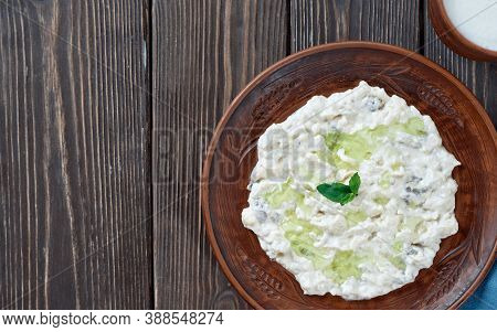 Ali Nazik Meze, A Traditional Turkish Dish Of Yoghurt And Eggplant Puree Topped With A Mint Leaf. Si