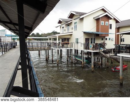 Bandar Seri Begawan, Brunei, January 25, 2017: Streets And Houses On The Water Built On Concrete Bea