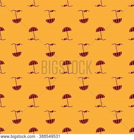 Red Sun Protective Umbrella For Beach Icon Isolated Seamless Pattern On Brown Background. Large Para