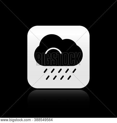 Black Cloud With Rain Icon Isolated On Black Background. Rain Cloud Precipitation With Rain Drops. S