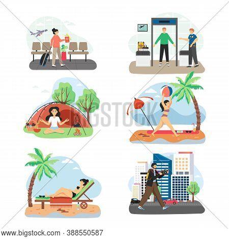 Traveler Cartoon Characters, Flat Vector Illustration. Beach Vacation. Yoga Retreat. City Travel. Ai